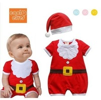 Free shipping Retail Children's clothing male female christmas hat short-sleeved infant bodysuit baby unisex onepiece romper