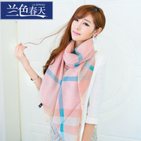 Blue 2013 autumn and winter fashion stripe plaid pure wool tassel scarf cape women's
