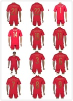 Spain home red  Soccer Uniforms high quality Embroidery Logo2014 world cup Spain Soccer football Shirt with shorts free shipping
