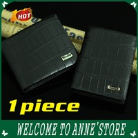 Free shipping black color Crocodile men Leather Short Wallet  male wallet gift 1piece