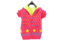 With a hood child thickening sweater female child dot plus velvet hooded zipper thickening down yarn sweater
