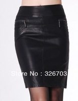 2013  New ol Washed PU Leather Skirt Plus Size 5XL   Black Formal Skirt Short  Fashion Slim Hip Skirts Free Shipping 003
