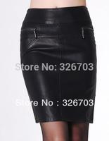 2013  New ol Washed PU Leather Skirt Plus Size 5XL   Black Formal Skirt Short  Fashion Slim Hip Skirts Free Shipping 003