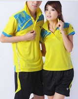 wholesale New summer fashion quick-drying short - sleeved badminton sportswear male / female suit lovers