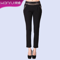 Women's autumn new arrival 2013 plaid color block pleated all-match diamond-studded casual pants female 999