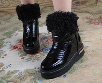 Short boots med heel, Hot sale! 2014 Fashion dress casual handsome style for lady. High quality PU. Free shipping!