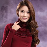 FREE SHIPPING Thick lace rabbit fur turtleneck slim short design long-sleeve basic sweater female sweater basic shirt