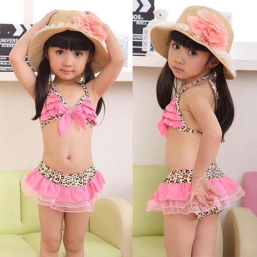 Leopard Bikini Top&Bottom w/Hat Beachdress Girls Swimsuit Kids Swimwear 1-7 Year for free shipping and drop shipping(China (Mainland))