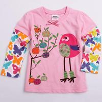 F1909#  Nova children t shirt,long sleeve girls  t-shirts  with Novelty printing