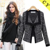 New Fashion womens' Elegant Broadside linen wool short jacket stylish V-neck long-sleeve Cardigan casual slim outwear brand coat
