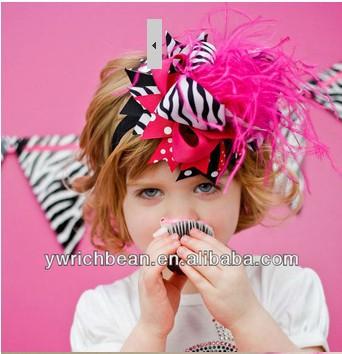 10 pcs/lot Baby girls' Headband zebra hot pink printed dots infant hair clips bow and headband baby hairbows new topknot(China (Mainland))