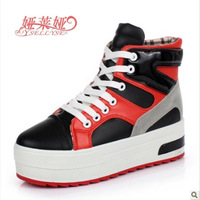 Free Shipping 2013 Autumn New Style Adult Thick soles High-top Sneakers Lace-Up Casual Shoes for Girls Hot Sale
