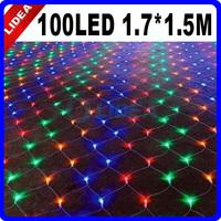 New 2014 Hot 110V/220V 100 LED Christmas Party Fairy Colorful Xmas Mesh Pattern Curtain String Light CN C-23M
