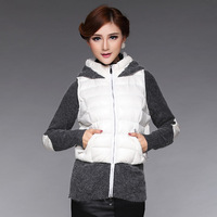 2013 autumn and winter down coat outerwear slim female hooded rabbit fur down coat d1078