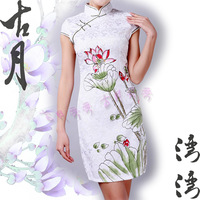 Lotus cotton cheongsam a347 chinese style tang suit short-sleeve dress qipao autumn evening dress 2013
