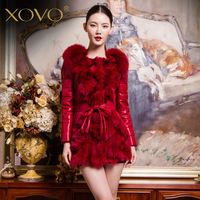 Xovo fur one piece genuine leather down coat slim fur fox fur coat medium-long female