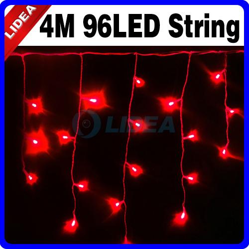 4M 110V/220V 96 LED Blue Icicle Christmas XMAS Garden Fairy String Lights HK C-16(China (Mainland))