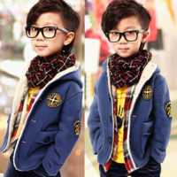 2013 autumn and winter the trend of child outerwear male child berber fleece thickening cardigan suit top with a hood outerwear