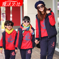 Family fashion winter 2013 autumn tendrils mother and son plus velvet thickening sweatshirt boat three pieces set