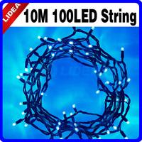 10M 110V/220V 100 Blue LED Christmas XMAS Garden Fairy String Indoor Lighting CN C-21