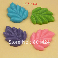free shipping 81-136 30piece flat back Resin leaf beads  Cab Cabochon cameo setting for phone hull