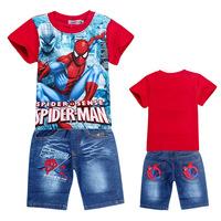 2014 Newest Summer 2pcs/sets Kids Clothes Set Spiderman Children Clothing sets t shirts Baby Boys Clothes jeans Suit wholesale