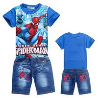 Wholesale baby boy fashion clothing set children t-shirt+jeans 2pcs Spiderman kids Summer cool suits children new design sets