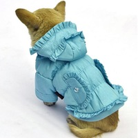 Free Shipping 2013 Lefdy New Fashion Cotton skirt pet cold feather padded cottonof dogs for winter dog coat
