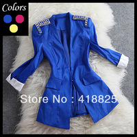 2013 autumn winter designer women's jackets outwear yellow pink blue white cuff beading shoulder epaulet fashion brand jacket