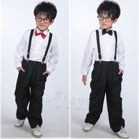 Free shipping new 2014 baby boy clothing set long-sleeve shirt kids pants bow tie formal dress overalls performance wear