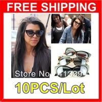 New Hotsale 10 Leopard Black & Red Frame Vintage Fashion Cat Eyes Sunglasses Women Lady Girls