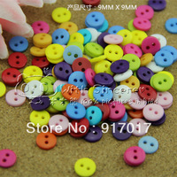 Free Shipping 500pcs Mixed Multicolour plastic multicolour resin button simple small button diameter 9mm craft rhinestones