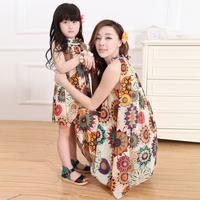 dress for mother or daughter summer slim chiffon dress one-piece dress family fashion women dress + sashes girl dress Free Ship