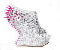 GZ brand silver pink diamond rivets, women's fashion runway banquet high heels