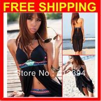 2013 Hot New Women's Sexy Cross Front Sheer Bohemian Bikini Set Bathing Suit Swimsuit