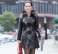 Women fox fur genuine leather fight mink outerwear marten sheepskin overcoat