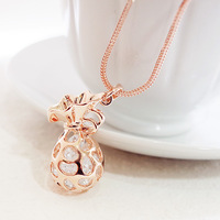 14k gold rose gold crystal purse lucky bag long necklace fashion design necklace female