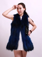 2013 leather clothing slim fur raccoon fur vest cape