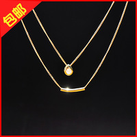 14k rose gold fashion ol elegant personality diamond double layer necklace chain female accessories