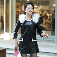 2013 ultralarge genuine leather clothing raccoon fur trench paragraph sheepskin women's outerwear