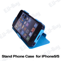 10pcs/lot wholesales. Leatherette Stand Design Case for iPhone 5/5S with free Screen Protector. Free shipping! (YSY5S-10)