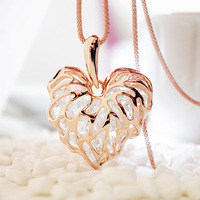 Exquisite necklace 14k gold rose gold crystal love leaves long design necklace