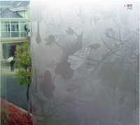 3d view frosted glass film Lotus pattern Opaque Scrub window film heat decorative sticke penetrator 17.7 inch*10 ft