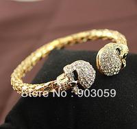 New Punk Rhinestone Skull Head Cuff Bracelet Fashion Bangle Jewelry For Women Wholesale/retail