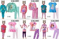 Retail New Kids pajamas Baby Girl's Cotton Cartoon Sleepwear Children Wear baby Homewear clothing 2pcs/set size 2Y-7Y