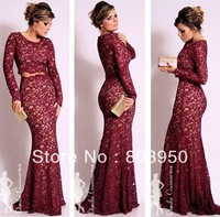 Free Shipping Vestidos De Renda Sexy Wine Red Lace Mermaid Evening Dresses With Long Sleeves Two Piece Prom Dresses Satin DY0910