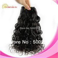 Beautiful Curl natural color Malaysian Virgin Human Hair weft human hair extensions
