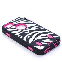 10pcs/lot FREE SHIPPING BLACK ZEBRA HIGH IMPACT COMBO HARD RUBBER CASE FOR IPHONE 5/5s