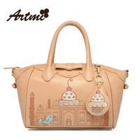 Artmi Designer Brands 2013 New Sweet Bow Decoration PU Leather Cute Smile Embroidery Hand Messenger Handbag Shoulder Bag Women