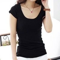 2013 female o-neck modal cotton short-sleeve t low collar solid color basic slim female t shirt